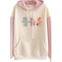 Cartoon Printed Colorblocked Drop Shoulder Long Sleeve Pouch Pocket Drawstring Hoodie