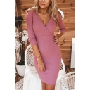 Womens Sexy V-Neck 3/4 Length Sleeve Plain Midi Bodycon Dress