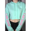 Fancy Letter Printed Long Sleeve Light Green Oversized Drawstring Cropped Hoodie
