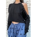 Womens Popular Black Cutout Long Sleeve Ribbon Embellished Loose Fit Crop Pullover Sweatshirt