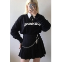 Funny Letter DRUNK GOD Printed Contrast Collar Long Sleeve Fitted Black Cropped Pullover Sweatshirt