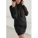 Womens Fashionable Solid Color Studded Long Sleeve Longline Fitted Pullover Hoodie