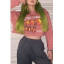 Hot Fashion IAGRUNA Letter Humor Orange Printed Long Sleeve Chic Crop Sweatshirt