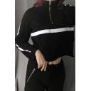 Womens Black Chic Striped Patchwork Long Sleeve Half Zip Loose Cropped Sweatshirt