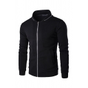 Mens Fashionable Long Sleeve Contrast Color Zipper Slim Fit Sweatshirt with Pocket