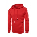 Mens Stylish Red Stripe Long Sleeve Pouch Pocket Regular Fit Casual Pullover Hoodie