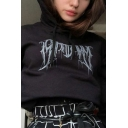 Cool Letter Print Long Sleeve Crop Black Loose Fit Hoodie for Women
