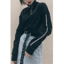 Womens Simple Stand Collar Half Zip Letter Printed Long Sleeve Black Loose Fit Pullover Sweatshirt