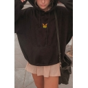 Black Butterfly Embroidery Printed Long Sleeve Oversized Drawstring Hoodie