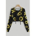 Womens Fashionable Allover Sunflower Long Sleeve Black Drawstring Cropped Hoodie