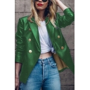 Womens Cool Plain Notched Collar Long Sleeve Button Embellished PU Metallic Blazer Coat
