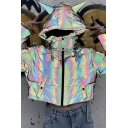 Hot Popular Laser Rainbow Long Sleeve Zip Up Demon Horn Hooded Crop Puffer Jacket Coat