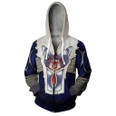 The Legend of Zelda Cool 3D Printed Cosplay Costume Drawstring Hooded Long Sleeve Blue and White Casual Zip Up Hoodie