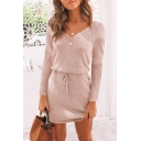 Womens Fall Chic V-Neck Long Sleeve Drawstring Waist Mini Plain Layered Dress