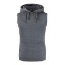 Mens Fashion Dark Grey Plain Sleeveless Kangaroo Pocket Slim Fit Drawstring Hoodie Vest