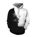 Black and White 3D Creative Yin Yang Pattern Long Sleeve Casual Drawstring Hoodie for Couple