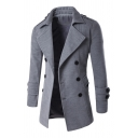 Mens Trendy Plain Notched Lapel Long Sleeve Double Breasted Split Back Longline Peacoat Overcoat