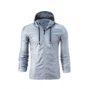 Mens Active Solid Color Long Sleeve Zip Up Basic Sports Jacket with Drawstring Hood
