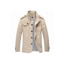 Casual Khaki High Collar Epaulets Embellished Long Sleeve Single Breasted Outdoor Wool Coat