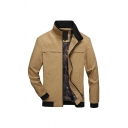 Fall Fashion Khaki Plain Long Sleeve Zip Up Fitted Casual Jacket Coat with Pocket