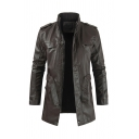Men's Simple Stand Collar Zip-Up Fleece Lined Longline Faux Leather Casual Jacket with Belt