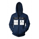 Dark Blue POLICE BOX Letter Printed Zip Up Casual Cosplay Loose Graphic Hoodie