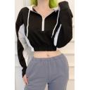 Womens Trendy Color Block Drawstring Hood Long Sleeve Half Zip Crop Hoodie Top