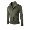 Mens Solid Color Lapel Collar Epaulet Design Long Sleeve Single Breasted Irregular Multi-Pocket Slim Fit Casual Jacket