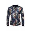 Mens Retro Floral and Leopard Printed Long Sleeve Stand Collar Slim Fit Casual Zipper Jacket