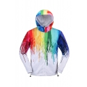 Mens Colorful Painting Dripping Print Drawstring Hem Zip Up White Casual Jacket Hooded Coat
