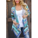 Womens Leisure Colorful Stripe Printed 3/4 Sleeves Open Front Draped Cardigan