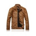 Mens Fashionable Brown Long Sleeve Stand Collar Zip Closure PU Leather Biker Jacket