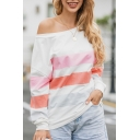 Womens Casual Colorblock Striped Printed One Shoulder Long Sleeve Loose Fit Sweatshirt Top