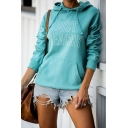 Popular Letter JUST BEACHY Printed Long Sleeve Slim Fit Casual Lake Blue Drawstring Hoodie with Pocket