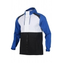 Mens Outdoor Fashion Color Block Long Sleeve Hidden Placket White and Blue Casual Hooded Track Jacket