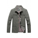 Mens Popular Army Green Lapel Long Sleeve Button Down Casual Shirt Jacket