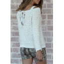 Women's Casual White Cutout Tie Back Long Sleeve Loop-Knit Regular Pullover Sweater