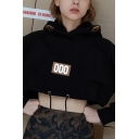 Womens Casual Black Number 000 Print Long Sleeve Drawstring Hem Pullover Cropped Hoodie