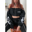 Punk Black Sexy Off the Shoulder Rose Printed Long Sleeve ROCK MORE Embroidery Flap Pocket Zipper Crop Sweatshirt