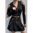 Women's Cold Shoulder Cut Out Long Sleeve Zip Up Chain Embellished Black Slim Fit Pullover Hoodie