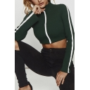 Womens Sexy Lapel Collar Color Block Stripe Long Sleeve Slim Fit Cropped Jacket Coat