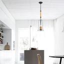 Bell Shade Pendant Lighting with Glass Simple 1 Light Ceiling Lamp in Clear for Living Room
