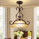 Frosted Glass Bell Pendant Lamp Countryside 1 Bulb Lighting Pendant in Black and Gold Finish