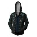 Stylish Black Armour Comic Cosplay Costume Long Sleeve Zip Up Loose Drawstring Hoodie