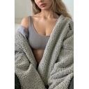 Women's Chic Long Sleeve Drawstring Hem Zip Up Lamb Wool Fluffy Loose Hooded Coat with Zipper Pocket