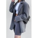 Womens Simple Gray Casual Single Breasted Loose Fit Longline Blazer Coat