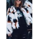 Ladies New Fashion Color Block Long Sleeve White Faux Fox Fur Short Outerwear Coat