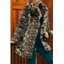 Womens Warm Leopard Print Lapel Collar Long Sleeve Longline Brown Faux Fur Thick Coat