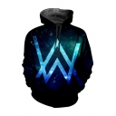 Letter W Popular DJ Galaxy 3D Printed Drawstring Hooded Long Sleeve Casual Loose Pullover Hoodie
