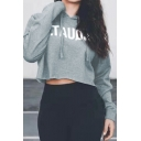 Womens Loose Simple Letter SQUAT Printed Long Sleeve Cropped Drawstring Hoodie